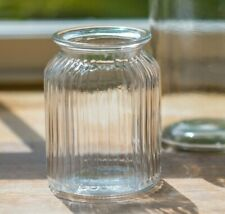 Clear Ribbed Glass Flower Vase Sweetie Style Jar Decoration Vintage Style UK