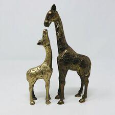 Vintage Brass Bronze Metal Gold Tone Giraffe Mother Baby Andrea Sadek Pair Mcm