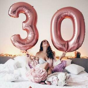 """32"""" 40"""" Rose Gold Happy Birthday Bunting Banner Balloons 18/21st/30/ Party Decor"""