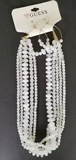 Guess Necklace & Earring set Gold tone white bead multi strand