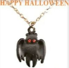 """Crystal Stones, Made in Usa, New Halloween 18"""" Vintage Bat Necklace, 2 Austrian"""