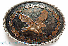 Vintage 70s Western Belt Buckle USA Floral EAGLE Etched Metal Oval