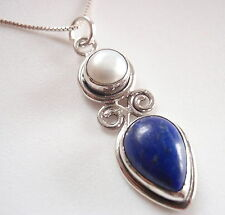 Lapis and Cultured Pearl 925 Sterling Silver Necklace Corona Sun Jewelry