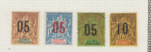 GUINEE 1912 LOT 4 TIMBRES 1892 COLONIES FRANCAISES NEUFS SURHARGE RARES