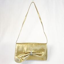 Vintage Antique Gold Leather BLOCK Clutch / Shoulder Bag Asymmetrical Flap