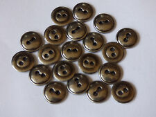 20 Pcs 12mm 20L Round Silver Coloured Metal 2 Hole Buttons Sewing Knitting Craft