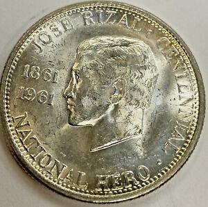 PHILIPPINES 1961 1/2 Peso Jose Rizal Silver Unc
