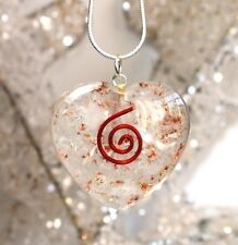 REIKI CHARGED SELENITE ORGONE CRYSTAL HEART PENDANT & SILVER CHAIN NECKLACE