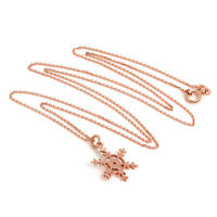 """9ct Rose Gold Winter Snowflake Necklace on Chain 16 18 20 """" Inches Christmas"""