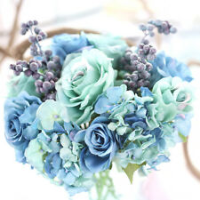 Artificial Silk Fake Flowers Leaf Rose Floral Bouquet Home Wedding Party Decor
