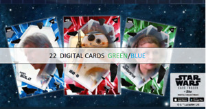 Topps Star Wars Card Trader Fractured 2021 FORCE AWAKENS BL GREEN 22 CARD WAVE 2