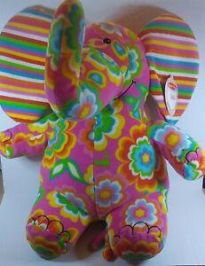 Melissa & Doug Sally The Elephant Pink Flower Power Plush Stuffed Animal Rainbow
