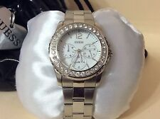 GUESS Women's Polished Glamour Silver-Tone Crystal Chronograph Watch NEW