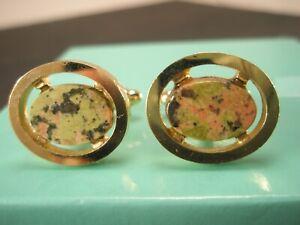 -Green Jasper Oval Cabochon & Gold Tone Vintage DANTE Cuff Links