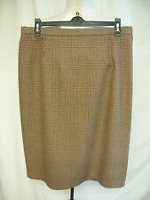"Ladies Skirt custom made, brown check, waist 33"", length 27"", lined, pencil 1189"