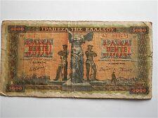 1942 WW2 ERA GREEK BANKNOTE 5000 DRACHMA , GOOD