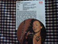 Thalia It´s My Party Very Rare Promo CD Single Picture with German Info Sheet
