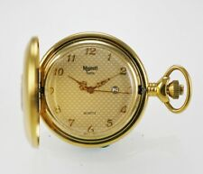 Majesti Swiss Pocket Watch Mens Beige Date Stainless Steel Gold Number Quartz