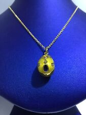 Faberge Russian Gold Diamond & Sapphire Enamel Egg Pendant
