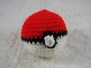 """Red White Black Handcrafted Amigurumi Crocheted 3"""" POKEMON BALL (C26)"""