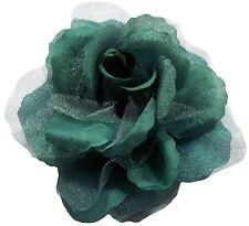 """Verde Azulado Rosa Seda Grande 6"""" -15cm Clip Cortina Gasa Tieback"""