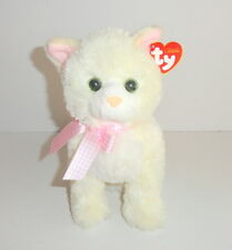 New TY Classic Champagne Cat Plush Ivory Cream Pink Bow & Ears 2009 P72