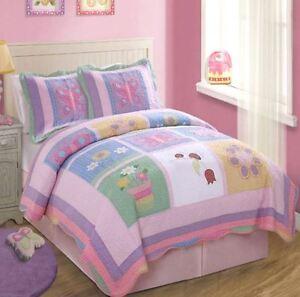 ANNAS DREAM LADYBUG 2pc Twin QUILT SET : GIRLS PURPLE PINK BUTTERFLY GARDEN