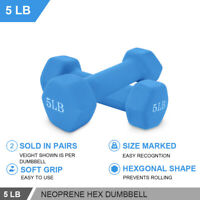 Set of 2 Dumbbell Weights Cap Hex Neoprene 5 lb Pound Pair Hex Dumbbell Weight