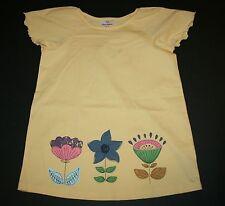 NUEVO Hanna ANDERSSON Flor Amarilla Dobladillo Festoneado Camiseta Manga Talla