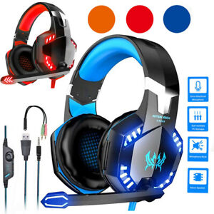 Gaming Headset Mic LED Headphones Stereo Bass Surround For PC Xbox One PS4 3.5mm