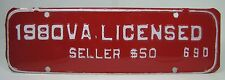 1980 VA LICENSED SELLER $50 License Plate Embossed Sign Virginia vendor food trk
