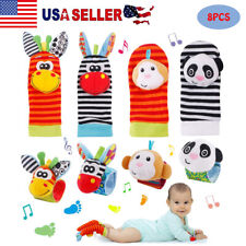 8PCS Newborn Infant Baby Kids Socks Wrist Rattles Boy Girl Early Educational Toy