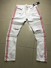 Rockstar White Red Lobo Checkered Jeans Size 34