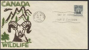 1953 #324 4c Bighorn Sheep Wildlife FDC, Dargis Velvatone Cachet, Ottawa
