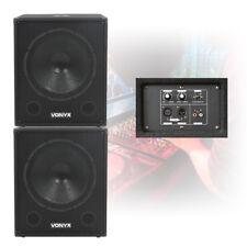 "Pair Skytec 18"" Active Powered Subwoofers Bass Bins DJ PA Disco Speakers 2000W"