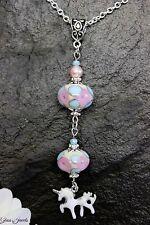 Einhorn Unicorn Anhänger Silber Perlen Lampwork Rosa Blau Glass Jewels #MA028