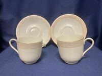 Mikasa SILK MOIRE set of 2 cups and saucers (Pink & Gold Nursery decor)