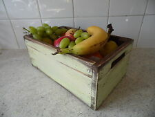 Vintge Cream Fruit Crate / bowl / box  hand made Quality wooden Kitchen storage