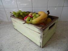 Crema VINTGE FRUTTA Crate/Ciotola/scatola di qualità fatti a mano in legno cucina Storage