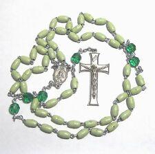 "Rosary green plastic beads 23"" wkc"