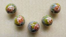 5 Japanese Tensha Beads FLOWERS on SILVER MIRACLE ROUND Beads 12mm