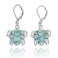 Original Handmade Amazing Sea Turtle Silver Earring With Larimar Stones