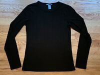 H&M Womens Dark Green long sleeve crew neck Ribbed T-Shirt Top Size Small