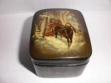 Vintage Russian Lacquer Box Fedoskino winter men horses  scene