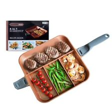 QuadraPan Professional 4in1 Multi-Compartment Divided Frying Pan Lid Copper