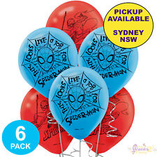 SPIDERMAN PARTY SUPPLIES 6 LATEX BALLOONS SUPERHERO BIRTHDAY DECORATIONS