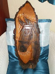 horse carving real timber cut