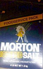 (ONE BOX) MORTON IODIZED TABLE FOOD SERVICE RESTAURANT SALT 4 LB BOX