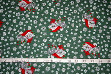 Vintage Christmas Kitties Cotton Fabric BTY