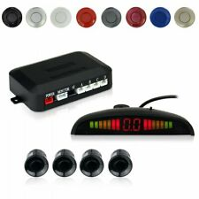 Car Auto Vehicle Reverse Backup LED Radar System with 4 Parking Sensors Black